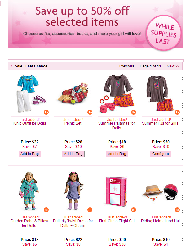 What American Girl products are there for the dolls? In addition to their lifelike dolls, the Pleasant Company offers American Girl pets, playsets, mini dolls, books, journals, doll clothing, shoes, earrings, doll beds and accessories like glasses, gymnastics equipment, crutches, ice skates, and even matching girls' clothing such as dresses and pajamas.